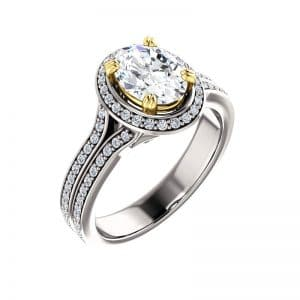 oval two tone diamond ring